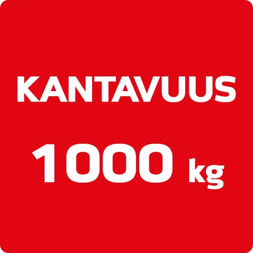 Huippuluokan 1000 kg kantavuus