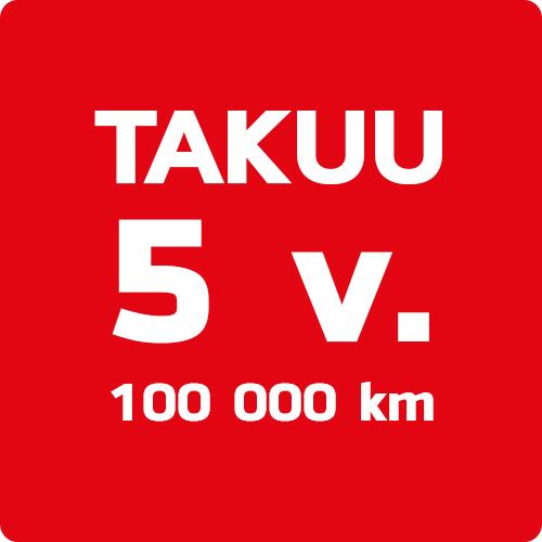 5 vuoden tai 100.000 km takuu
